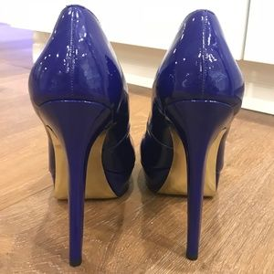 """Bebe """"Bailey"""" Patent Leather Classic Blue Pumps"""